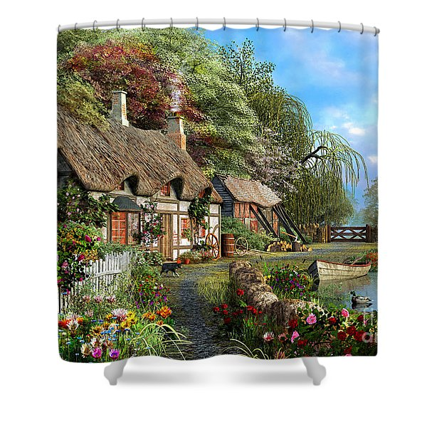 Riverside Home In Bloom Shower Curtain
