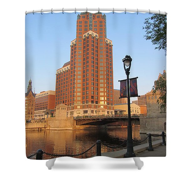Shower Curtain featuring the photograph Riverwalk And Lamp Post by Anita Burgermeister