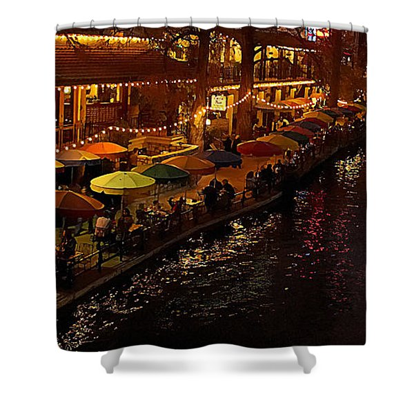 Shower Curtain featuring the photograph Riverwalk Night by Mary Jo Allen