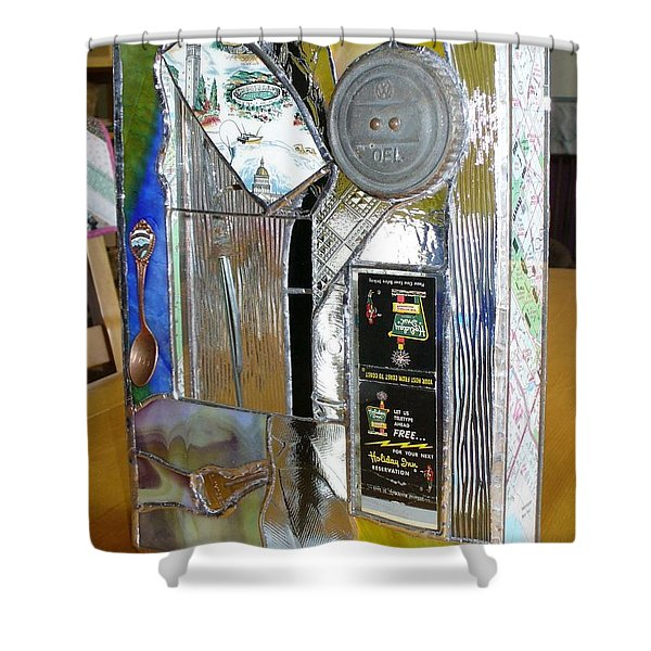 Shower Curtain featuring the glass art Roadtrips by Karin Thue