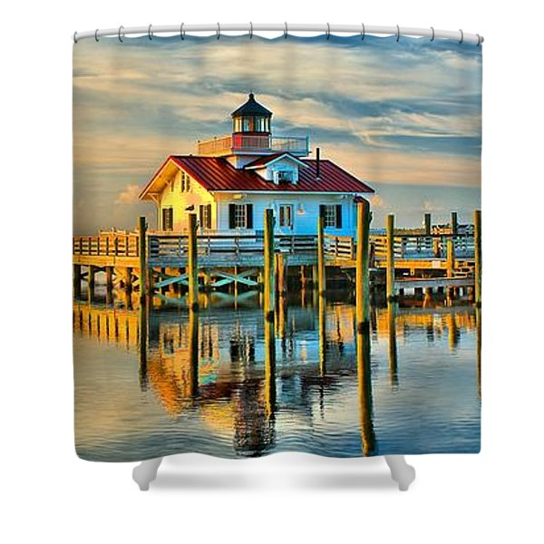 Roanoke Marsh Lighthouse Dawn Shower Curtain