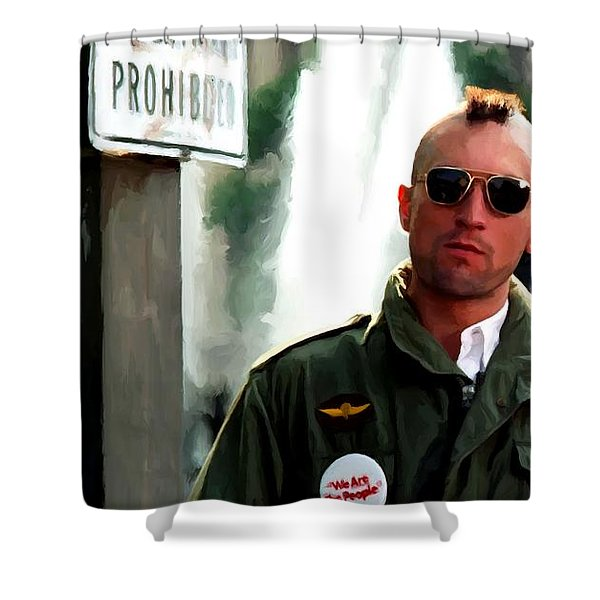 Robert De Niro In The Film Taxi Driver - Martin Scorsese 1976 Shower Curtain