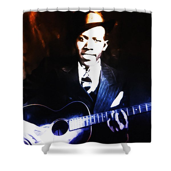 Robert Johnson - King Of The Blues Shower Curtain