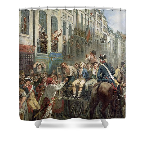 Robespierre 1758-94 And Saint-just 1767-94 Leaving For The Guillotine, 28th July 1794, 1884 Oil Shower Curtain