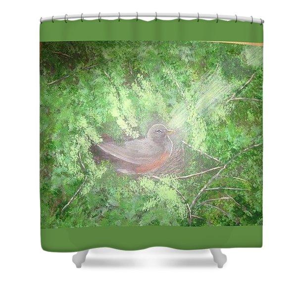 Robin On Her Nest Shower Curtain
