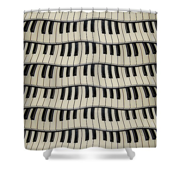 Rock And Roll Piano Keys Shower Curtain