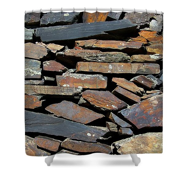 Rock Wall Of Slate Shower Curtain