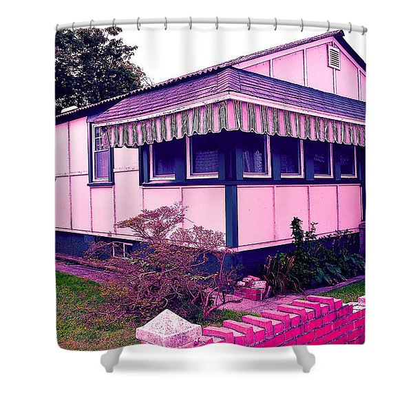 Rockaway Point Bungalow Pink And Blue Shower Curtain