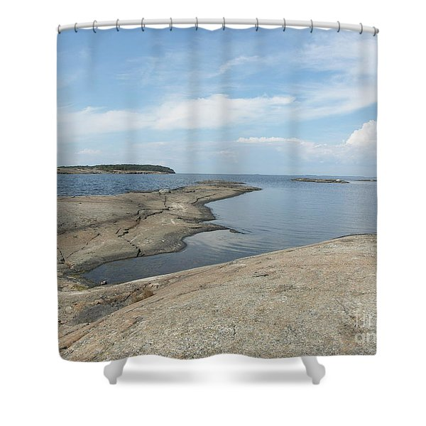 Rocky Coastline In Hamina Shower Curtain