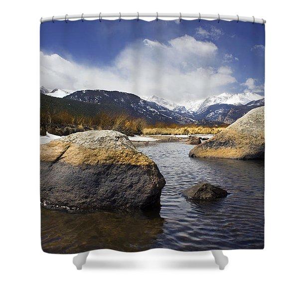 Rocky Mountain Creek Shower Curtain