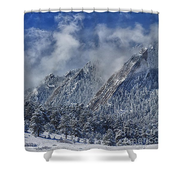 Rocky Mountain Dusting Of Snow Boulder Colorado Shower Curtain