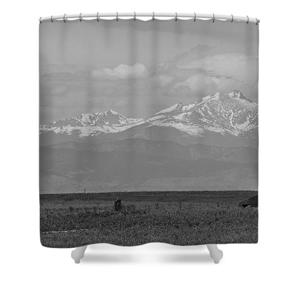 Rocky Mountain Front Range Oil Panorama Bw Shower Curtain