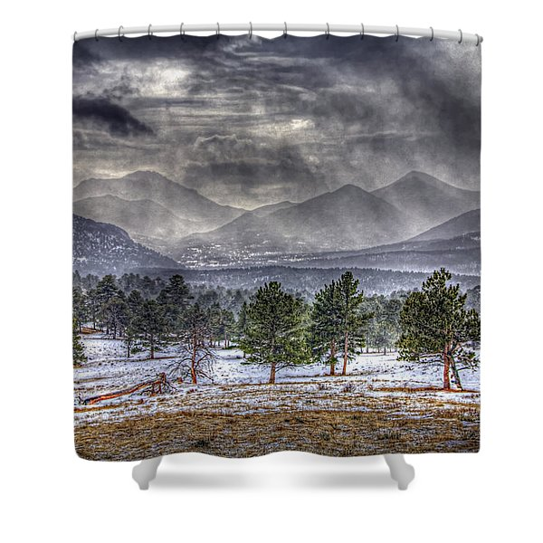 Rocky Mountain Snow Storm Estes Park Colorado Shower Curtain