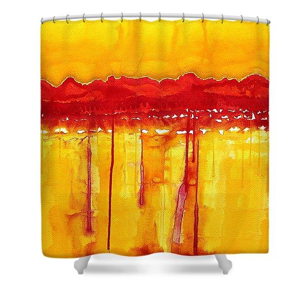 Rocky Mountains Original Painting Shower Curtain