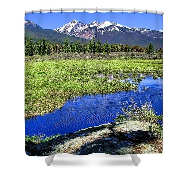 Rocky Mountains River Shower Curtain