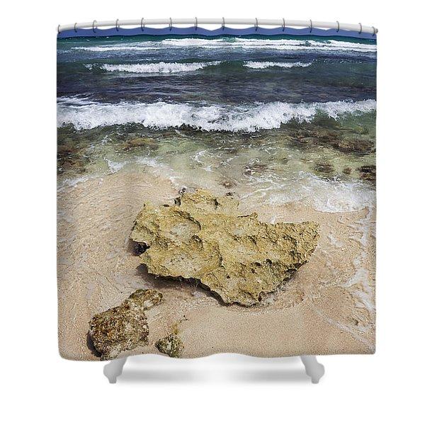 Rocky Shoreline In Tulum Shower Curtain