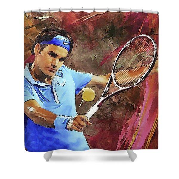 Roger Federer Backhand Art Shower Curtain