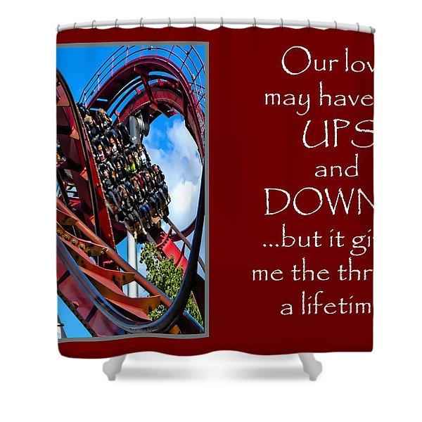 Rollercoaster Valentine Shower Curtain