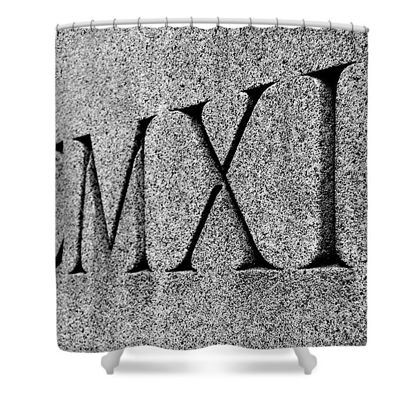 Roman Numerals Carved In Stone Shower Curtain