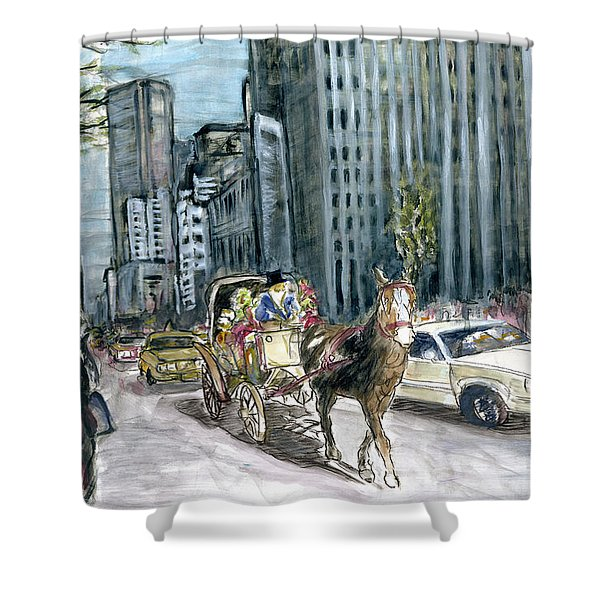 New York 5th Avenue Ride - Fine Art Painting Shower Curtain