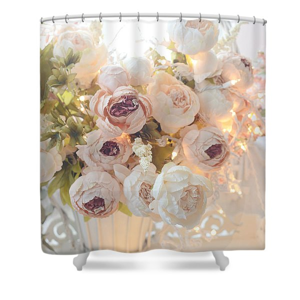 Romantic Shabby Chic Dreamy Pink And White Peonies - Shabby Chic Peonies In Basket Shower Curtain