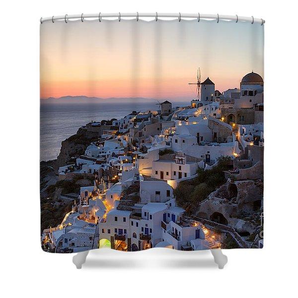 Romantic Sunset Over The Village Of Oia Greece Santorini Shower Curtain