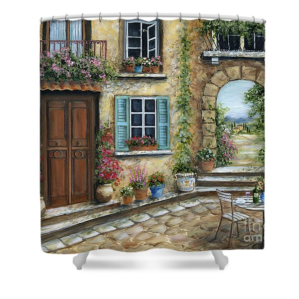 Romantic Tuscan Courtyard Shower Curtain