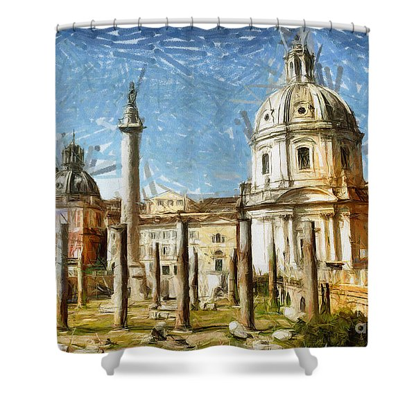 Rome Italy - Drawing Shower Curtain