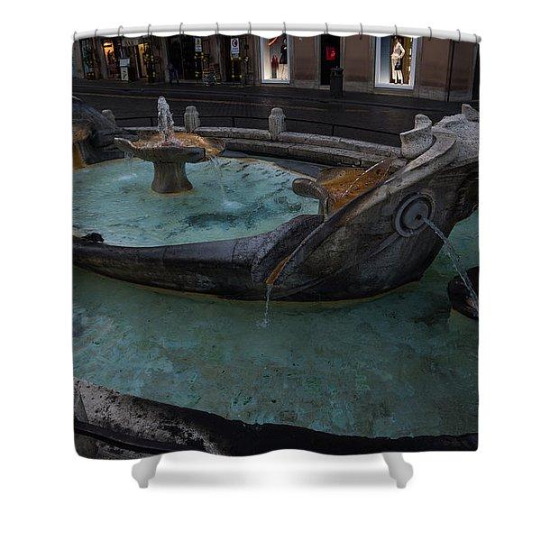 Rome's Fabulous Fountains - Fontana Della Barcaccia At The Spanish Steps  Shower Curtain