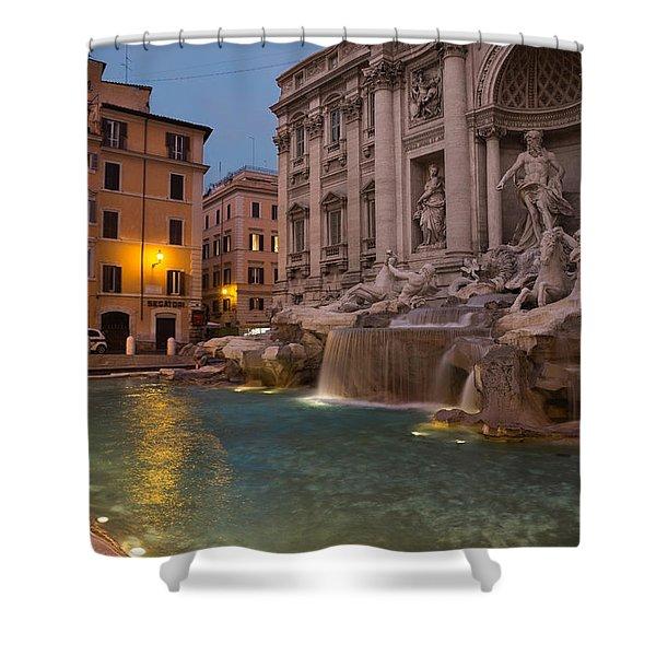 Rome's Fabulous Fountains - Trevi Fountain At Dawn Shower Curtain
