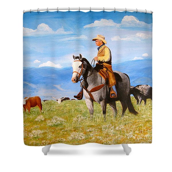 Ron And  Cash At Work Shower Curtain