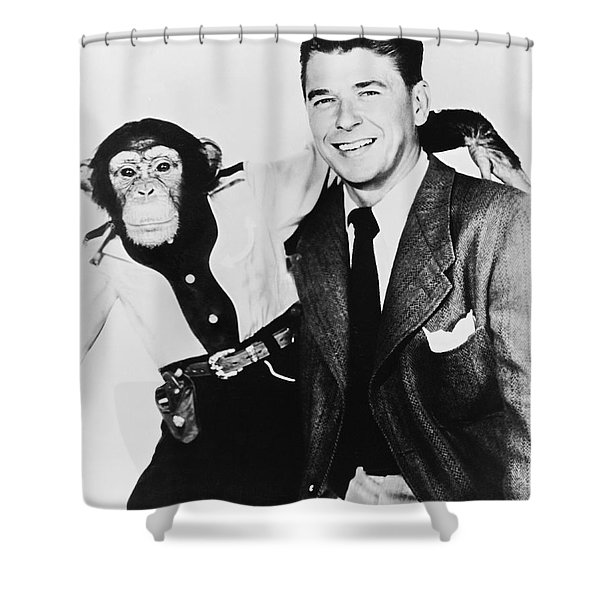 Ronald Reagan And Bonzo Shower Curtain