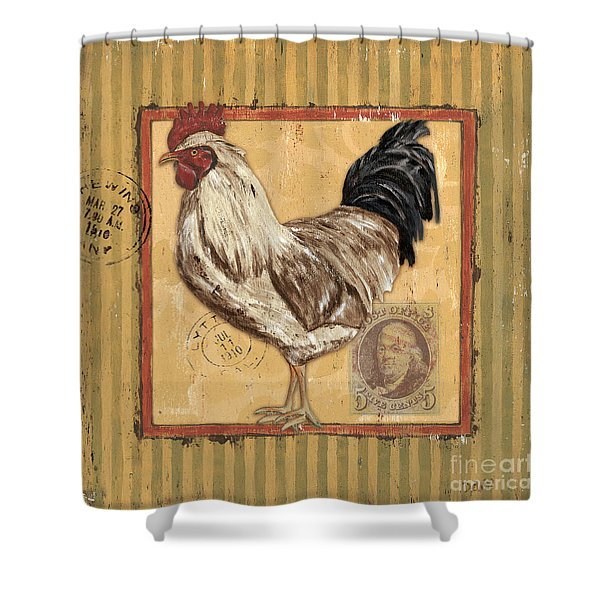 Rooster And Stripes Shower Curtain