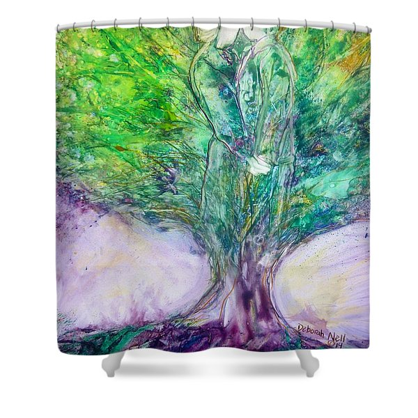 Shower Curtain featuring the painting Rooted In Love by Deborah Nell