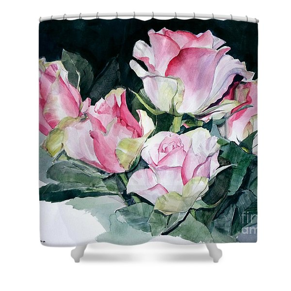 Watercolor Of A Pink Rose Bouquet Celebrating Ezio Pinza Shower Curtain