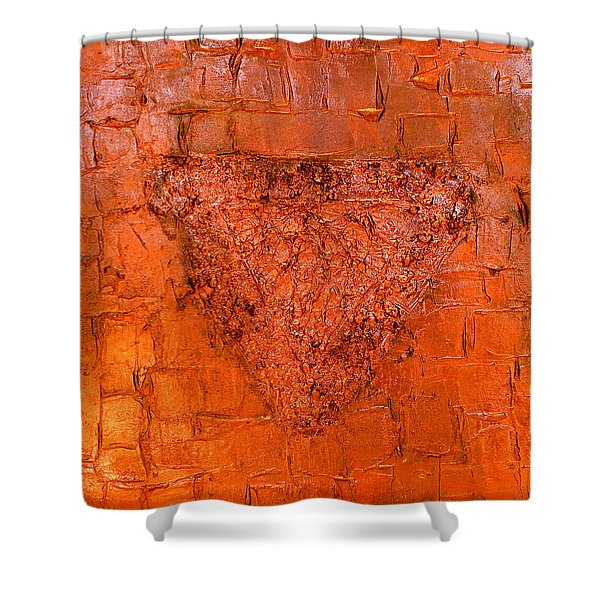 Rose Gold Mixed Media Triptych Part 3 Shower Curtain