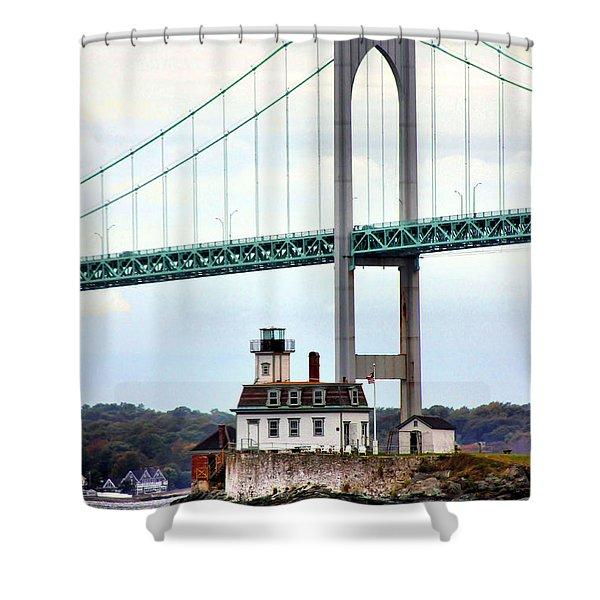 Rose Island Lighthouse Shower Curtain