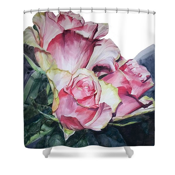 Watercolor Of A Bouquet Of Pink Roses I Call Rose Michelangelo Shower Curtain