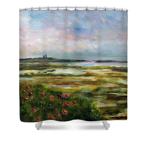 Roses Over The Marsh Shower Curtain