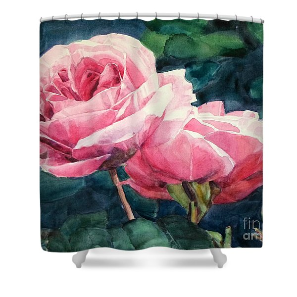 Watercolor Of Two Luscious Pink Roses Shower Curtain