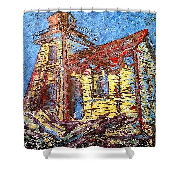 Ross Island Lighthouse Shower Curtain
