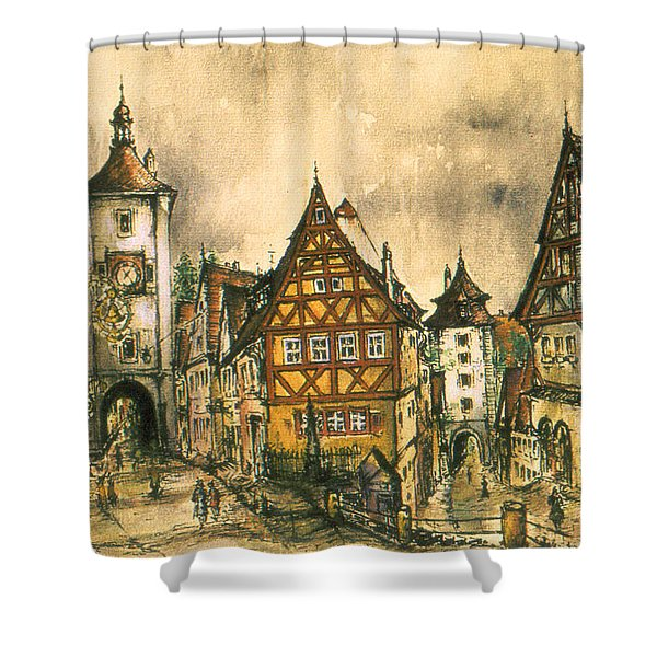Rothenburg Bavaria Germany - Romantic Watercolor Shower Curtain