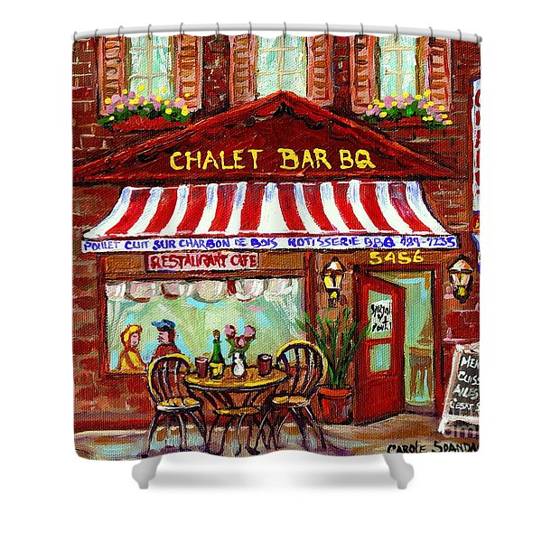Rotisserie Le Chalet Bbq Restaurant Paintings Storefronts Street Scenes Diners Montreal Art Cspandau Shower Curtain