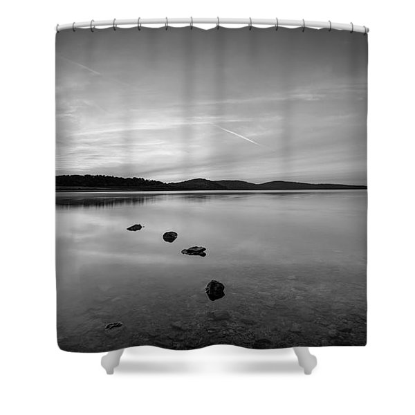 Round Valley At Dawn Bw Shower Curtain