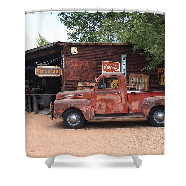 Route 66 Garage And Pickup Shower Curtain
