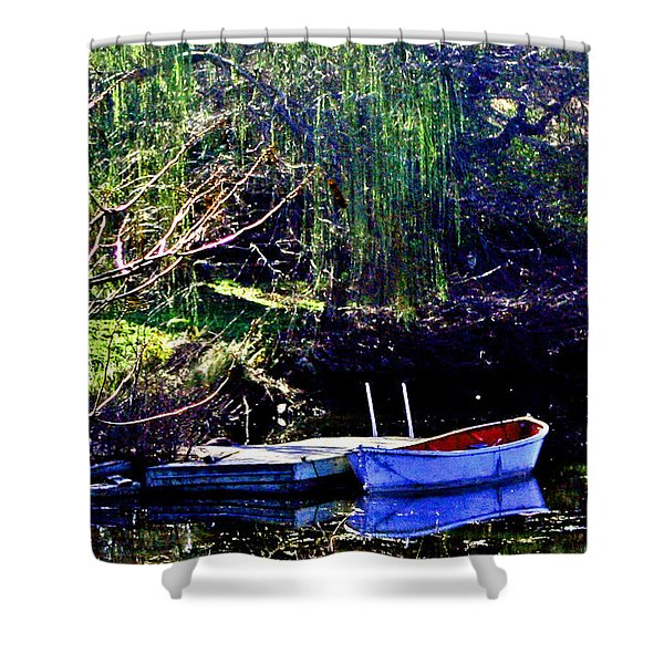 Row Boat At Dock Shower Curtain