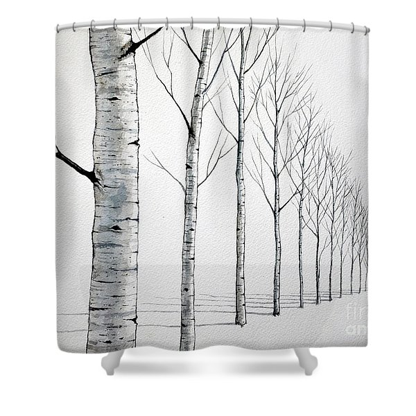 Row Of Birch Trees In The Snow Shower Curtain