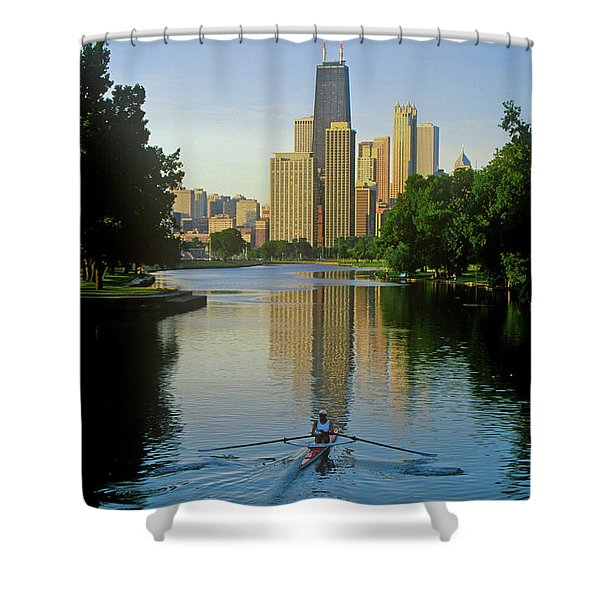 Rower On Chicago River With Skyline Shower Curtain