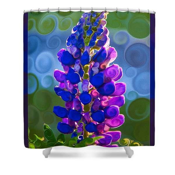 Royal Purple Lupine Flower Abstract Art Shower Curtain