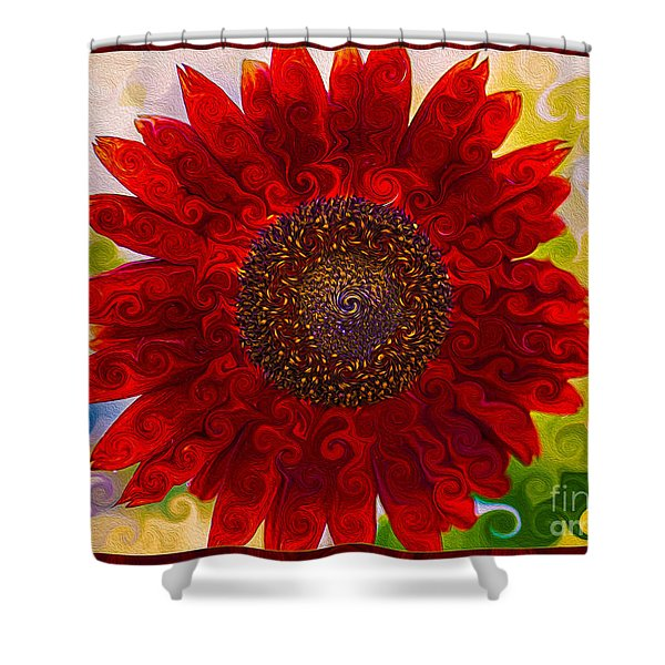 Royal Red Sunflower Shower Curtain